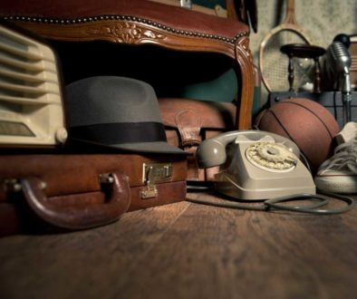 an old hat, telephone and other memories stored in the attic, unprotected from mold damage